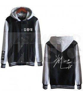 EXO - Blouson Teddy avec capuche - EXO AUTOGRAPHED CHEN (Black / Grey)