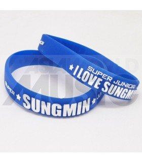 Super Junior - Bracelet Fashion 3D - I LOVE SUNGMIN (BLUE / WHITE)