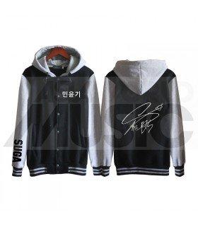 BTS - Blouson Teddy avec capuche - BTS AUTOGRAPHED SUGA (Black / Grey)