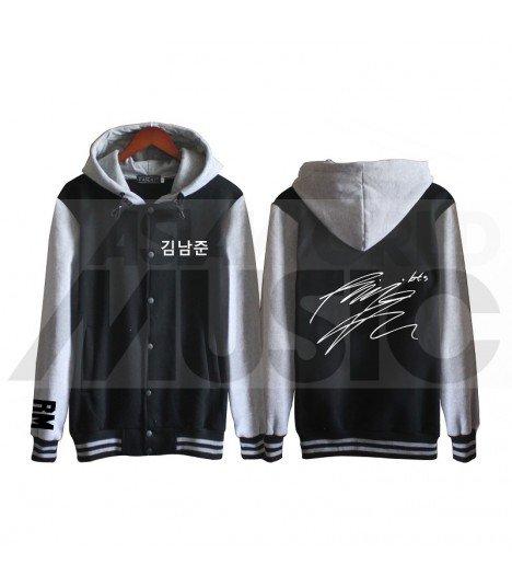 BTS - Blouson Teddy avec capuche - BTS AUTOGRAPHED RM (Black / Grey)