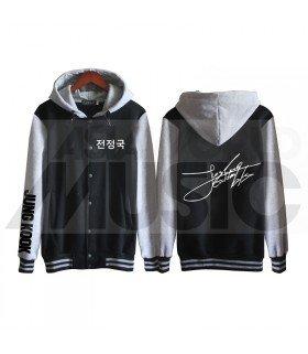 BTS - Blouson Teddy avec capuche - BTS AUTOGRAPHED JUNGKOOK (Black / Grey)