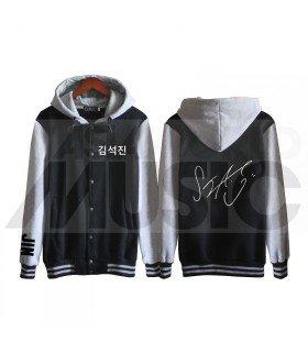 BTS - Blouson Teddy avec capuche - BTS AUTOGRAPHED JIN (Black / Grey)