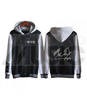 BTS - Blouson Teddy avec capuche - BTS AUTOGRAPHED JIMIN (Black / Grey)