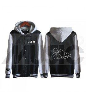BTS - Blouson Teddy avec capuche - BTS AUTOGRAPHED V (Black / Grey)