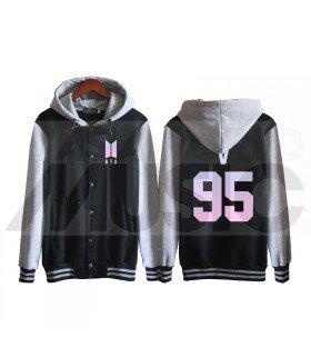 BTS - Blouson Teddy avec capuche - BTS NEW LOGO V 95 (Black / Grey)