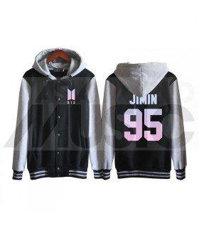BTS - Blouson Teddy avec capuche - BTS NEW LOGO JIMIN 95 (Black / Grey)