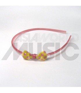 Serre-tête nœud à pois (jaune/ rose)