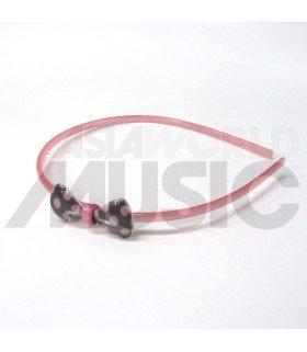 Serre-tête nœud à pois (rose/ noir)