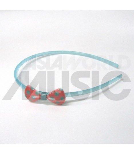 Serre-tête nœud à pois (bleu/ rose)
