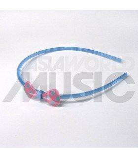 Serre-tête nœud à pois (bleu / rose)