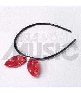 Serre-tête gros ruban (modèle rouge à fleurs)