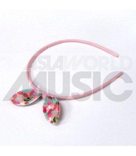 Serre-tête rose gros ruban (Motifs fleurs)